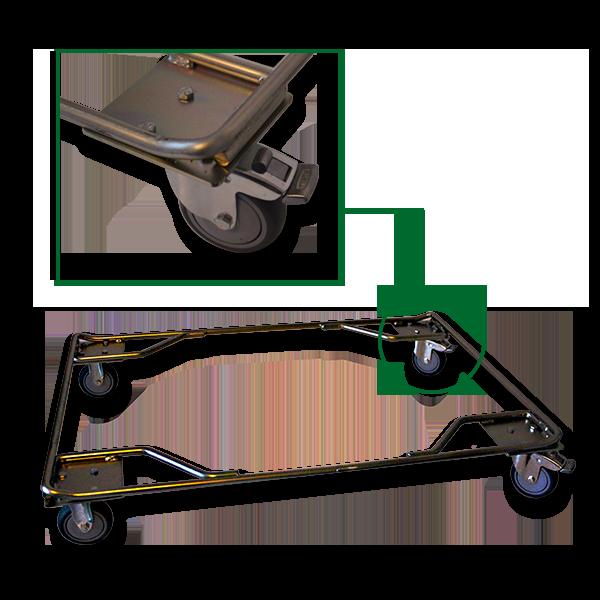 L'accessoire embase roulante Filbox est adaptable à la plupart de ses containers métalliques vinicoles.