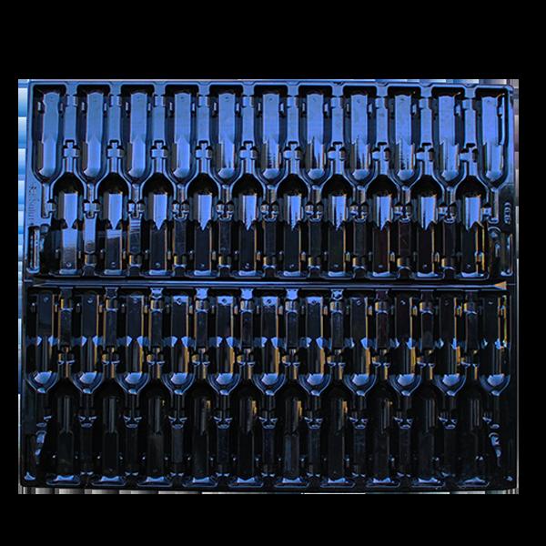 La plaque thermoformée universelle Filbox sert comme accessoire pour les bouteilles de bordeaux, bourgogne et champagne.